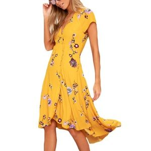 FREE PEOPLE • Lost in You Yellow Floral Midi Dress